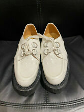 ORIGINAL GEORGE COX D RING CREEPER CREPE SOLE WHITE LEATHER TED TEDDY BOY SIZE 5