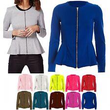 New Women Ladies Plain Zip Peplum Frill Tailored Blazer Jacket Coat Top UK 8-24
