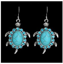 Turquois Turtle Earrings, Antique Silver Vintage Style