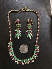 RARE color crystal rhinestone '1950 necklace dangle earrings SHERMAN  set