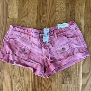 NWT American Eagle Pink Linen  Cuffed Drawstring 8 Shorties
