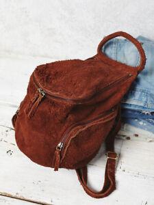 New Free People Cut N Paste Royale Distressed Suede Backpack MSRP: $198 Black