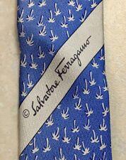 Men's Salvatore Ferragamo Blue Palm Trees Silk  Neck Tie Made in Italy