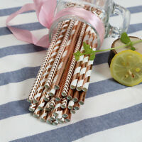 25-50Pcs Rose Gold Paper Drinking Straws Birthday Wedding Party Tableware Home