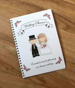 """A5 Wedding Planner Note Book, Bride to Be Journal Organiser  """"Cute couple cover"""""""
