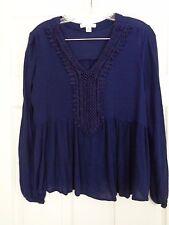 John Paul Richard Women's Blue Tunic Top Long Sleeve Size Medium
