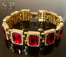 MENS HIP HOP BLING GOLD PLATED ICED OUT RICK ROSS RED RUBY CZ STONES BRACELET