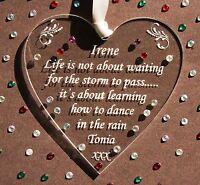 Personalised Friendship Heart Gift Keepsake  - Diamante Detail &*Free Gift Bag*