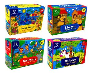 4 x Kids Learning Puzzle Jigsaw Puzzle Game Solving Education Animal Cartoon