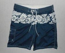 Speedo Mens Swim Trunks *Size Large* Blue with White Floral Print* Great Cond *