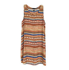 Forever 21 Mini Dress Womens Size Small Orange Brown Printed Sleeveless Shift