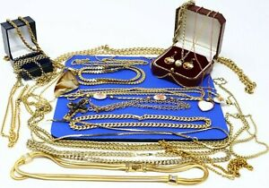 Job Lot Vintage Gold Plated Gold Tone Jewellery Incl Necklaces Bracelet Earrings