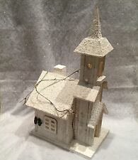 White Wood Snow Church Scene Light Up Christmas decoration LED Vintage Chic