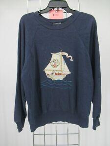 K0450 VTG Popeye Long Sleeve Crewneck Pull-Over Raglan Sweatshirt