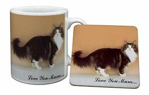 Norwegian Forest Cat 'Love You Mum' Mug+Coaster Christmas/Birthday G, AC-40lymMC