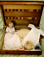 All Bisque Baby Doll German Layette Wood Box