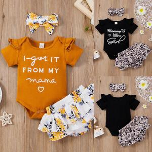 3Pcs Newborn Baby Girls Floral Summer Clothes Tops Shorts Headband Outfits Set
