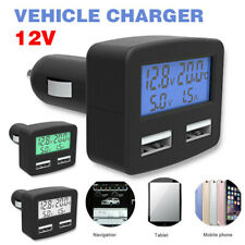 Dual USB LCD Car Cigarette Lighter Power Socket 12V Voltmeter Ammeter Charger