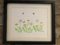 Dandelion And Bumblebee Original watercolour signed painting. Country life,