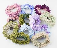 2x Soft Satin Hair Scrunchie, Two Tone Colour Crinkle Ponytail Holder Hair Ties