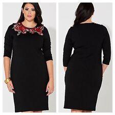 Kaleidoscope Size 18 Black Floral Embroidered Applique Ponte Shift DRESS £85