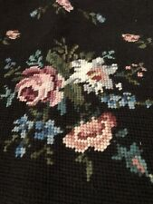 """Vintage Needlepoint Seat Chair21"""" Pillow Bench FootstoolCover FloralRoses"""
