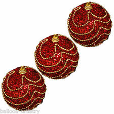 3 Christmas RED Elegant Waltz Round 8cm Glitter Baubles Tree Decorations