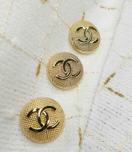 100% Chanel buttons 3 pieces   metal cc logo 0,9 inch 24 mm  💔 gold XLarge