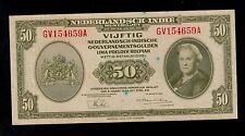 NETHERLANDS INDIES  50  GULDEN  1943  GV  PICK # 116a  AU  BANKNOTE.