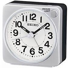 Seiko QHE118S Bedside Alarm Clock Silver