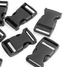 "10 Pcs 1"" 2.5CM Width Plastic Safety Quick Release Buckles Black LW"