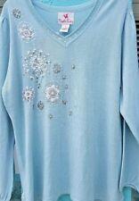 NWT QUACKER FACTORY Crochet Snow Flake V-neck Beaded Sequin Sweater Plus Sz 3X