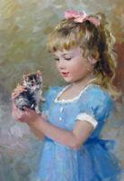 LMOP10764  little girl carrying a kitten little cat oil painting art on canvas
