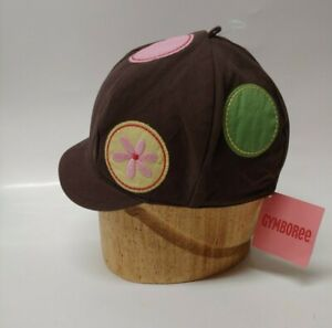 NWT Gymboree Baby Little Girl Hat Cap Brown With Flowers Dots Size 12-24 Months