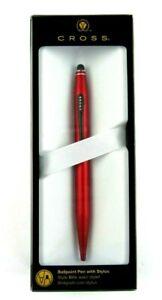 Cross Tech2 Ballpoint Pen With Stylus, Medium Point, 1.0mm, Red Barrel/Black Ink