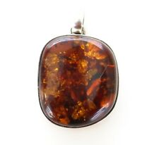 Jewelry Honey Cognac Color Natural Baltic Amber Gem Pendant 925 Sterling Silver