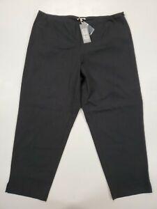 ■801 EILEEN FISHER Womens XL Slim Ankle Organic Cotton Side Zip Black Pants