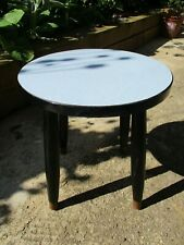 Fab Vintage Retro Kitsch Tiny Blue Circular Round Formica Coffee Table Black Leg
