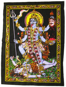 KALI Maa Kali 40 x 55cm Wandbehang Stoffbild Pailletten Hinduismus Shiva 2. Wahl