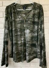 Calvin Klein Long Sleeve T-Shirt Greens Tie-dye Look Women's XL Stretch Lt Wt Ec