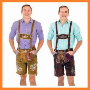 Traditional Oktoberfest German Leather Lederhosen Adult Mens Costume