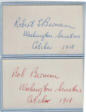 (2) BOB BERMAN INDEX CARD SIGNED AUTO LOT 1918 WASH SENATORS PSA/DNA 1899-1988
