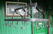 Cast Iron Pan & Utensil Kitchen Hanger Hooks Traditional Black