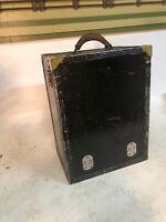 Vintage 50's MCM Masonite Leather Handle Salesman Sample Case Door And Drawered