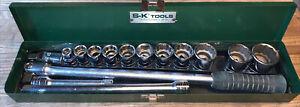 "S-K Tools 1/2"" Drive Socket 15 Piece Set 12pt Vintage with Box Breaker Bar"