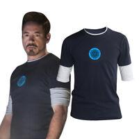 US Iron Man 3 Tony Stark T-shirts Night Luminous Cosplay Costumes Navy Tops Tees