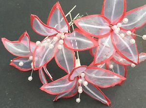 5 Wedding Prom Shiny Coral With White Lily Flower Hair Pins Clips Grips handmade