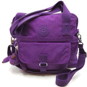 Kipling PANHEIRO Handbag Purple Tonal Purse Shoulder Bag Crossbody Monkey
