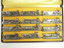 FRENCH Silver Plate-ART DECO Fattoria SCENE-Set di 12 COLTELLO poggia