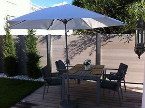 WPC Sichtschutz Zaun Windschutz WPC Terrassendielen Alupfosten, B 2 m x H 1,9 m